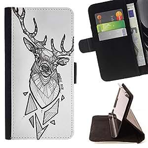 Jordan Colourful Shop - Deer Antlers White Polygon Pattern Black For Apple Iphone 5C - Leather Case Absorci???¡¯???€????€???????&bdqu