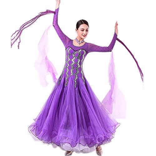 garuda レディース社交ダンス衣装 高級ダンスドレス 社交ダンスワル 競技ワンピース サイズオーダー対応 パープル パープル XL
