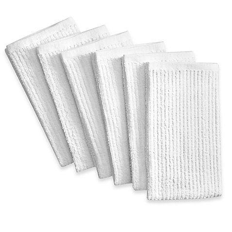 Real Simple 6-Pack Antimicrobial Bar Mop Kitchen Towels in White 6 Bar Mop