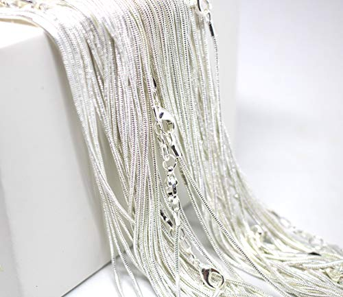 (20 Inch Snake Chains Pack of 10 - Sterling Silver 925 Snake Chains Bulk - Sterling Silver Plated Chains for Jewelry Making - Top Quality USA Seller Maddie's Pearls (20 Inch, 10 Chains))