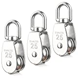 DSSY 3 Pack 25MM Single Pulley Block in 304 Stainless Steel M25 Single Pulley Roller Loading 400kg,Silver