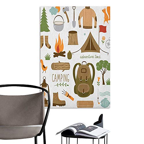 Home Decor Decals Mural Adventure Camping Equipment Sleeping Bag Boots Campfire Shovel Hatchet Log Artwork Print Multicolor Mural Blackboard DIY White W20 x H28 ()