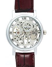 WINNER 036 Fashion oco redondo mostrador manual masculino relógio de pulso mecânico com pulseira de PU (prata + marrom)