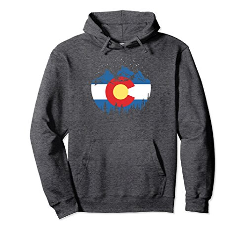 State Flag Sweatshirt (Unisex State Flag of Colorado Vintage Night Stars Design Hoodie Large Dark Heather)