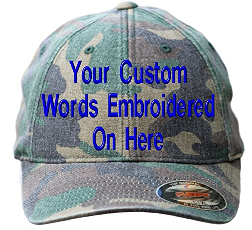 Custom Hat Flexfit 6977CA Embroidered. Your Own Text Curved Bill (S/M, 6977CA Washed Green Camo)
