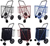 push cart basket - Folding Shopping Cart DOUBLE BASKET SWIVEL Wheel Jumbo 360 Easy Rotation WITH FREE LINER AND CARGO NET by SCF (BLACK WITH BLUE LINER)