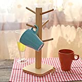 Wood mug tree,Wooden creative drain cup holder household tea cup shelf coffee mug glass cup storage rack-A