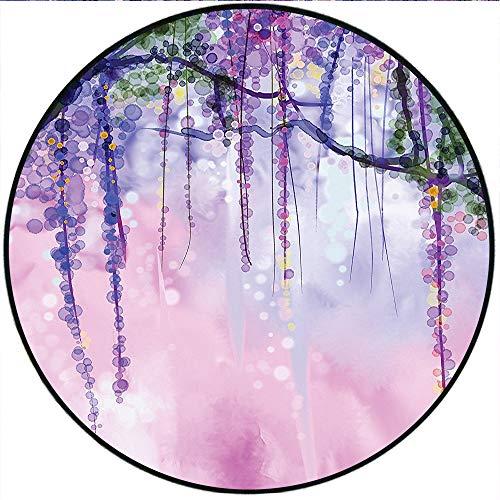 Short Plush Round Rug Collection Wisteria Flowers Blurred Background Bright Colors Anti-Slip Children's Floor 23.6