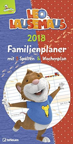 Leo Lausemaus 2018 - Familienplaner 5 Spalten, Kinderkalender - 23 x 45,5 cm