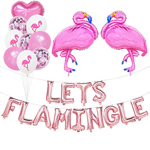 Lets Flamingle Balloons Banner Rose Gold | Lets Flamingle Party Supplies | Hawaii Party, Pink Party, Summer Party, Flamingo Theme Bachelorette Birthday Bridal Shower Wedding Luau Party -