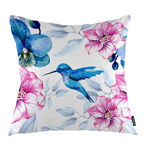 (oFloral Flower Throw Pillow Cover Orchid Flowers Hummingbird Nature Rose Plant Decorative Square Pillow Case 18