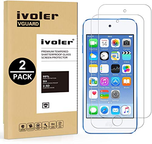 ivoler [2 Pack] [Tempered Glass] Screen Protector Compatible iPod Touch 7G 2019 6G 5G (7th 6th 5th Generation), 0.2mm Ultra Thin 9H Hardness 2.5D Round Edge,Anti Scratch and Bubble-Free (Touch Screen For Ipod Protector 5)