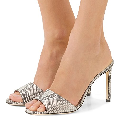 FSJ Women Casual Peep Toe Mule Sandals Stiletto High Heels Party Evening Shoes Size 6 Snake Print