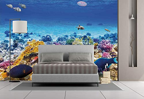 Large Wall Mural Sticker [ Ocean Decor,Underwater Sea World Scene with Goldfish Starfish Jellyfish Depth Diving Concept,Turquoise ] Self-adhesive Vinyl Wallpaper / Removable Modern Decorating Wall Art ()