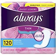 Always Thin Daily Liners, Regular Absorbency, Unscented, Wrapped, 120 Count