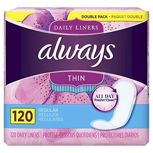 Always Thin Daily Liners, Regular Absorbency, Unscented, Wrapped, 120 Count (Pantiliners Thin Always)