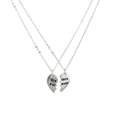 ad35279c5b Amazon.com: Sisters Forever Silver Broken Heart Big Sis Lil Sis BFF Best  Friends Necklace Set (2pc): Jewelry