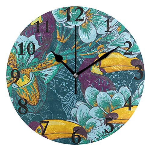 Dozili Bird Flower Round Wall Clock Arabic Numerals Design Non Ticking Wall Clock Large for Bedrooms,Living Room,Bathroom