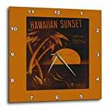 3dRose Hawaiian Sunset Tropical Sunset with Palm Tree – Wall Clock, 13 by 13-Inch (dpp_170739_2)