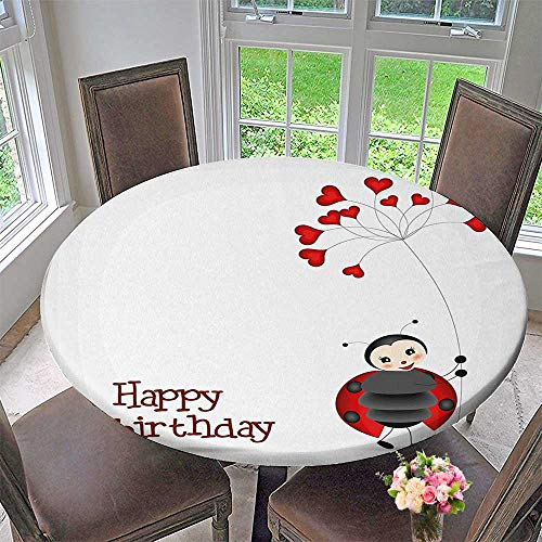 Mikihome Round Premium Table Cloth Ladybug Wings Flower Inspired Heart Shaped Balloons Red Black and White Perfect for Indoor, Outdoor 50