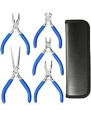 Lifegoo 5 Piece Mini Pliers Flush Side Wire Cutter Repair Precision Plier Set Include Needle Plier,Long Nose Plier,Diagonal Plier,End Cutting Plier,Linesman Plier,Nylon Bag Bonus with Gloves…
