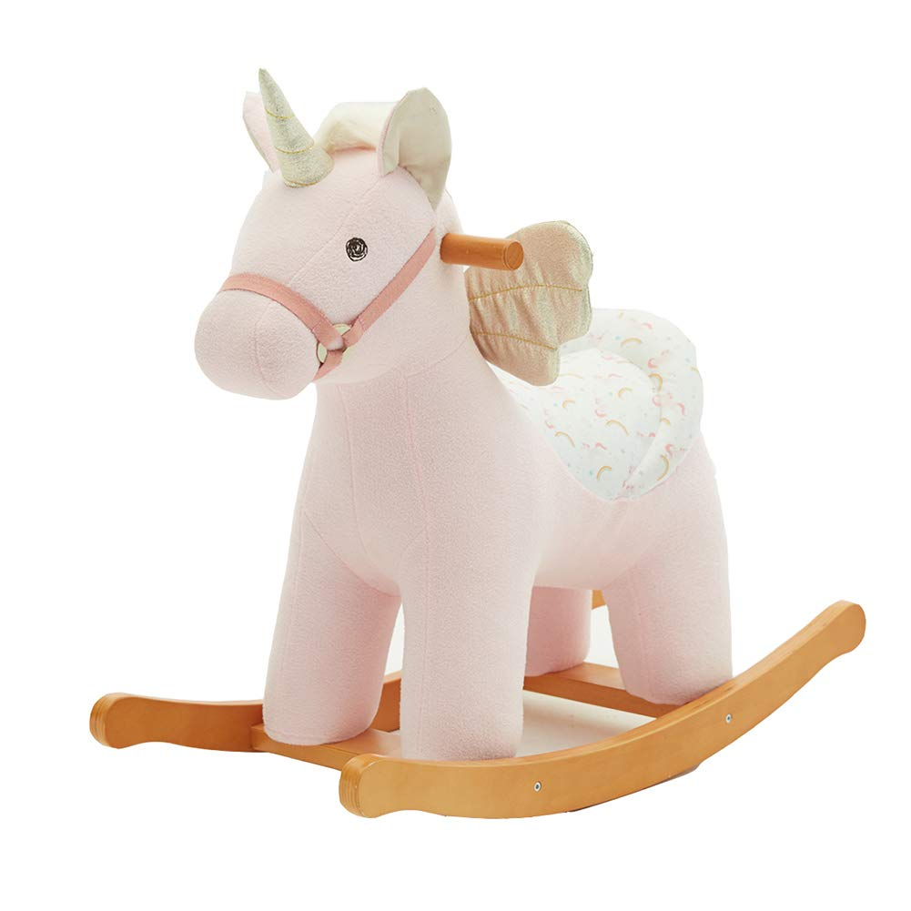 labebe Pink Unicorn with Wings Baby Rocking Horse, Wooden Plush Rocker Toy Rocking Chair for 1-3 Years Kids Birthday Gift (Unicorn)