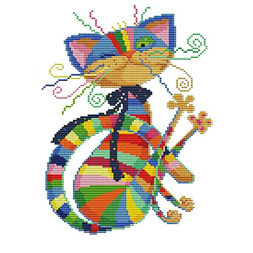 BeAhity Colorful Cat Cross Stitch Kits Printed Pattern,Stamped Embroidery Kit,11CT Fabric 12.6x16.5inch