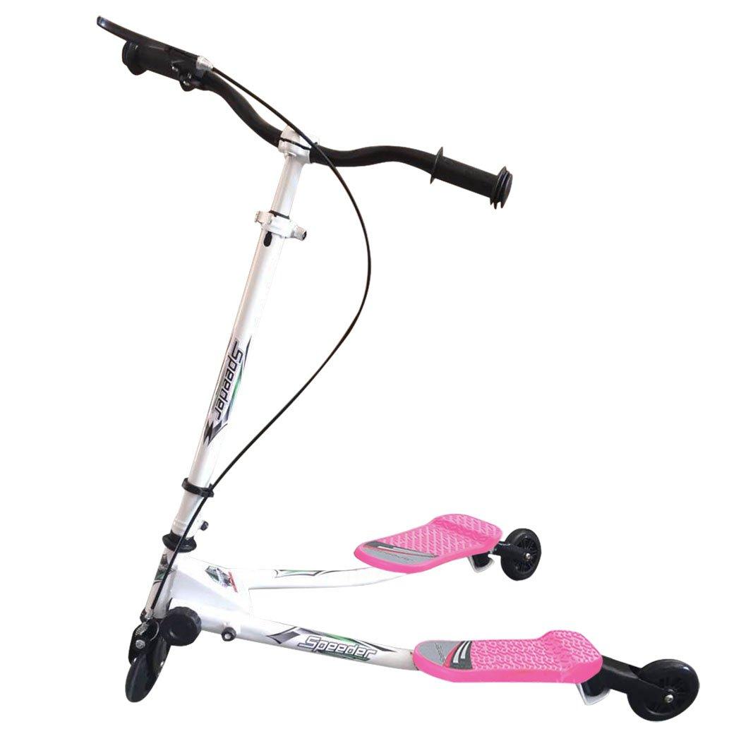 CHIGANT Kids Tri Push Swing Scooter Winged Speeder Tri Wheel 3 Wheel Kick Scooter Bobbi Board for Boys Girls Children UK Stock