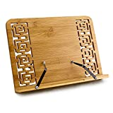 Joyoldelf Adjustable Bamboo Reading Rest Cookbook Holder, Middle Size, Foldable Tablet Cook Book Stand Bookrest with Backing & Elegant Pattern