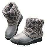 MUK LUKS Women's Patti Cable Boot, Grey, 6 M US