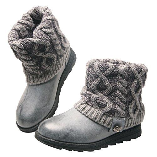 Muk Luks Women's Patti Cable Winter Boot, Grey, 6 M US