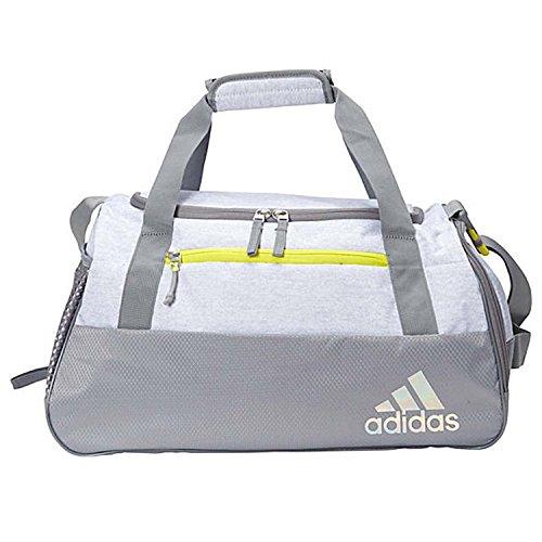 adidas Squad Duffel Bag, White Jersey/Grey/Shock Yellow, One