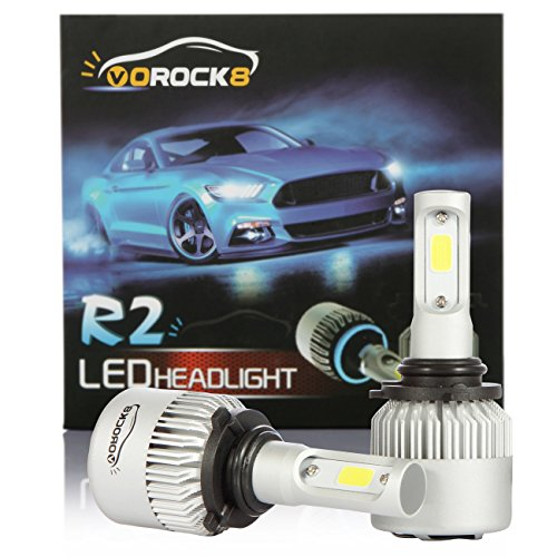 VoRock8 R2 COB 9006 HB4 9006XS 8000LM LED Headlight Conversion Kit, Low Beam Headlamp, Fog Driving Light, Halogen Head Light Replacement, 6500K Xenon White, 1 Pair- 1 Year Warranty