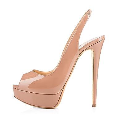 Chaussures à bout ouvert à élastique QtTh8XfrDq
