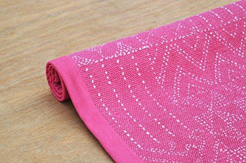 Magenta Cotton Rug Geometrical print Hamong print 100% cotton Tribal size 24X36 inches (24X36, Pink) (Flooring Florida White)