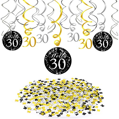 30 Birthday Decorations,Konsait Gold Black Silver Decor 30th Birthday Hanging Swirl (15 Counts) Number 30 Table Confetti(1.05oz) Party Streamers Pack Ceiling Decor for 30 Birthday Party Decorations Favor Supplies ()