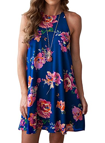 MITILLY Women's Halter Neck Boho Floral Print Chiffon Casual Sleeveless Short Dress Small Blue (Shift Dress Halter Sleeveless)