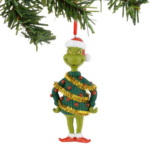 Grinch Tinsel Sweater Ornament