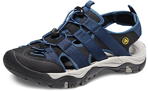 ATIKA Men's Sports Sandals Trail Outdoor Water Shoes 3Layer Toecap, All Terrain Orbital(m107) - Dark Blue, 11