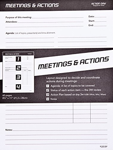 Action Day - Meetings & Actions Pad - Size 8x11 - Layout Designed to Run Effective Meetings That Get Things Done (Meeting Notepad (+) Meeting Notes)