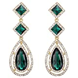 BriLove Wedding Bridal Earrings for Women Crystal Faceted Infinity Square Teardrop Hollow Chandelier Dangle Earrings Emerald Color Gold-Tone