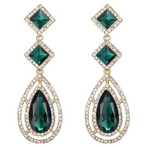 Hollow Fancy Earrings - BriLove Wedding Bridal Earrings for Women Crystal Faceted Infinity Square Teardrop Hollow Chandelier Dangle Earrings Emerald Color Gold-Tone