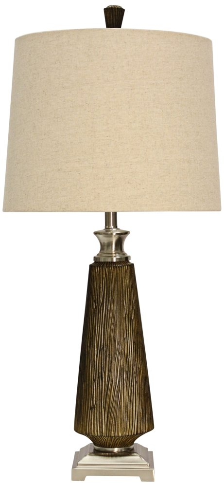 Hargis Injection Mold & Chrome Metal Accent Table Lamp with Banded Trim Designer Fabric Shade (Set of 2)