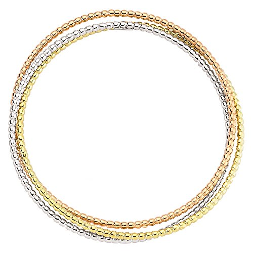 Jewelco Londres 3 perlesdecouleur argent mariage russe bracelet rigide