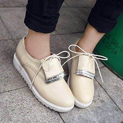 Show Shine Dames Sleehak Platform Veter Oxford Schoenen Beige