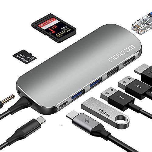 USB C Hub,ECOIOU 9-in-1 Ports Type-C Hub Adapter for 4K HDMI, USB 2.0/3.0 PD Power Delivery, SD 3.0 Card Reader, Ethernet, Audio Jack, Compatible withMacBook, Surface, PixelBook, USB-C Smartphones