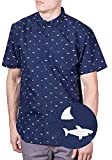 Mens Hawaiian Shirt Short Sleeve Button Up Casual Woven Shirts Navy Shark Large