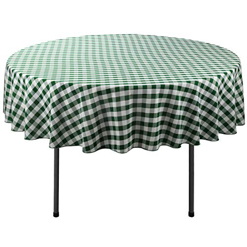 Waysle 90-Inch Round Tablecloth, 100% Polyester Washable Table Cloth for Circular Table, Green and White Checker (Green Round)