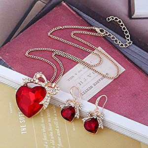 James Products Bow Heart Rhinestone Jewelry Set Necklace Earrings Two Piece Set For Women red