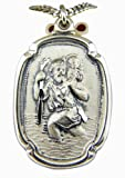 Large Rectangle 1 1/4 Inch Sterling Silver Saint St Christopher Medal